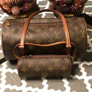 Louis Vuitton Papillon 26 with vintage mini pouch